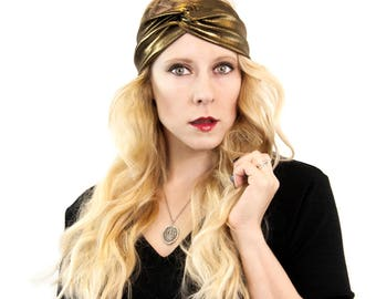 Gold Headband, Twist Headband, Metallic Headband, Womens Turban Headband, Adult Headband, Knot Head bands St Patricks Day, Womens Headband