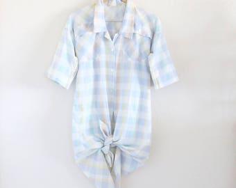 plaid shirt dress / m