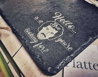 Funny 'Hello is it Brie you're looking for?' Slate Cheese Board | Cheesy Message Engraved Chopping Board, Serving Platter | 30x22cm