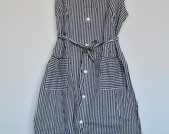 Vintage Black and White Striped Cotton Button up Sleeveless Summer House Dress