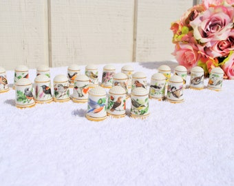 Bird Thimble Lot by Peter Barrett Set of 23, Franklin Mint, Collectable - 1979, Porcelain,