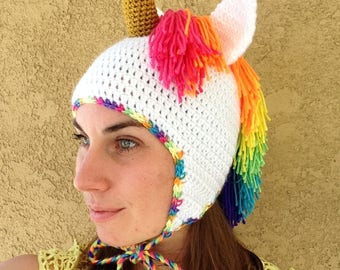 Rainbow Unicorn Hat - Multicolored Mane, Gold, Earflaps Costume Halloween Baby Adult Women Children Girls gift MADE TO ORDER