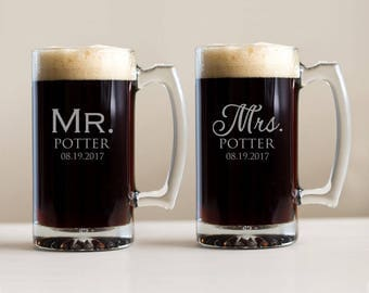 Pair of Personalized Mr. & Mrs. Beer Mugs: Engraved Bride Groom Beer Mugs, Custom Mr. Mrs. Beer Mugs, Custom Bride Groom Gift, SHIPS FAST