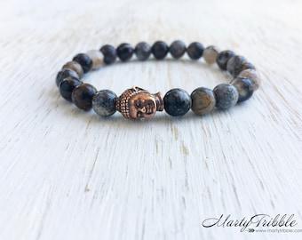 Gray Jasper Buddha Bracelet, Buddhist Jewelry, Gemstone Bracelet, Wrist Mala, Meditation Beads, Jasper Buddha Bracelet, Healing Crystals