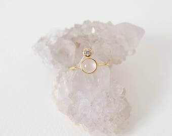 The Orb - Gold Stacking Ring, Rose Quartz Ring, Gifts for her