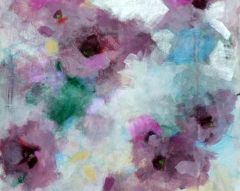 "Original Work on Paper, Abstract Floral Rose Painting, Loose Flowers, ""June Roses"" 18x24"""