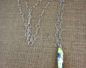Watercolor Tubular Lampwork Pendant on Long Adjustable Sterling Silver Chain