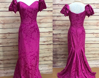 80s Jessica McClintock Fuchsia Pink Brocade Mermaid Gown