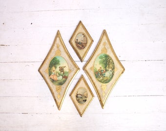 Set of 4 vintage diamond gold made in Italy wall hangings retro home decor hollywood regency mid century modern