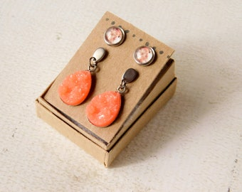 Mars Earring Set - Peach Druzy Planet Jewelry