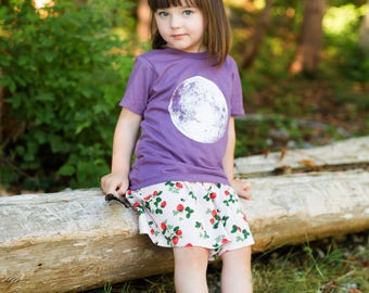 Moon Face Organic Purple kids tee / Wolfpups Wear / pick your size