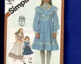 Vintage 1981 Simplicity 5437 Gunne Sax Western Dress with Ruffled Bodice Girls Size 14
