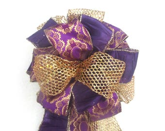 Purple & Gold Bow / Christmas Bow / Tree Topper Bow