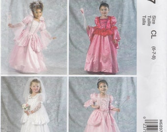 Girls Princess Dress Pattern McCalls M6897 Sizes 6 - 8 Uncut