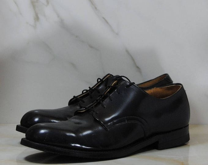 Vintage Craddock-Terry Black Leather Military Oxford Shoes, Mens size 10,1989, Biltrite Imperial, Made in USA, Military Specifications