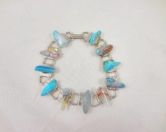 Vintage Silvertone Agate Bracelet