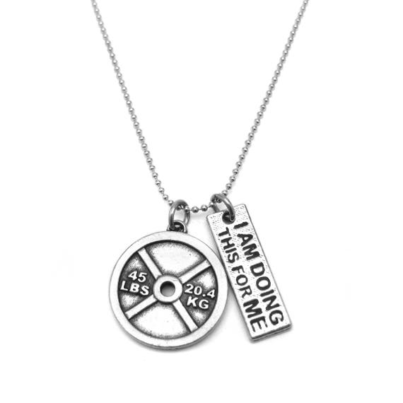 I Am Doing This For Me 45lb Weight Plate Necklace - Nickel Free Fitness Jewelry -  Workout Necklace - Gym Necklace - Weight Loss Motivation