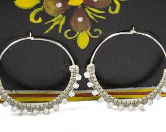 White Beaded Hoop Earrings, Tribal Hoops, Ethnic Earrings, Sterling Silver Hoops, Macrame Earrings, Bohemian Jewelry, Large Hoops, Big Hoops