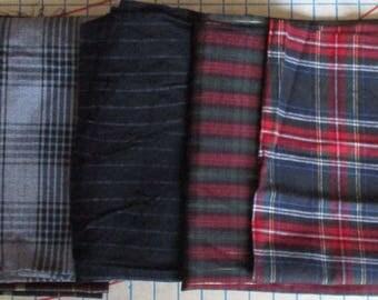 Fabric Remnant Bundle - 5 Pieces, Black/Brown Plaid, Black/Grey Plaid, Silver Stripe on Black, Burgundy/Green Plaid, Red/Green/Blue Plaid
