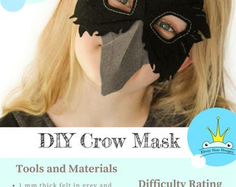 Crow Mask PATTERN.  Digital Sewing Pattern - Kids Crow Costume.