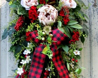 Christmas swags, wreath swag, Christmas wreaths, front door wreath, holiday swags, Christmas Cottage decor, french country cottage,