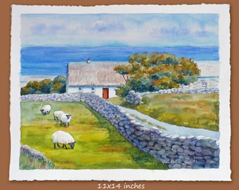 Original Aran Islands watercolor landscape painting, Ireland thatched cottage sheep, 11x14, 8x10, 6x8 unframed wall art by Janet Zeh