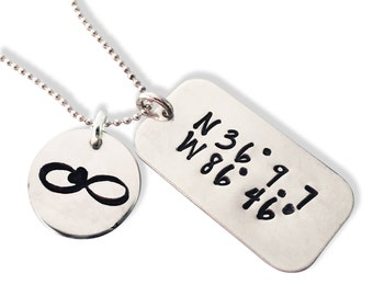 Sterling Dog Tag Coordinate Necklace- Where You Met- Engagement Spot - Place of Birth - Map Coordinates