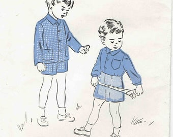 1940s Boys Button-Front Shirt, Jacket and Shorts Pattern. Long Sleeve Shirt or Jacket and Shorts. Toddler Size 2 Chest 21 inches.