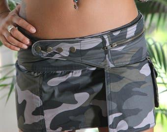 the best rave skirt EVER. wrap camouflage pockets mini skirt, adjustable all sizes utility mini skirt