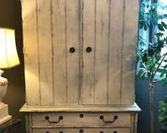 """The 1960 """"Nadia"""" Painted French Country Armoire/Cupboard/Media Cabinet"""