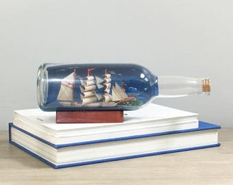 Vintage Ship in a Bottle Miniature Ship Nautical Beach Decor