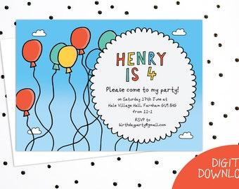 Balloon invitation | Etsy