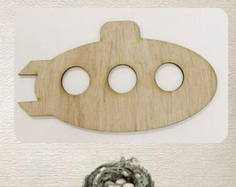 Submarine - (Small) Wood Cut Out -  Laser Cut