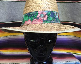 70s Straw Panama Hat with Floral Hat Band - Summer Festival Boating Gardening Hat - Vintage Straw Hat - Adult Small Youth Large 53-54 cm
