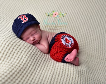 Newborn Boston Red Sox Outfit Uniform Set- Hat, Pants - Knitted / Crochet - Baby Gift / Photo Prop - Baseball