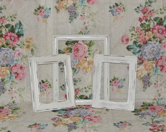 Distressed Picture Frames White Frames Shabby Country Chic Frames Open Frames Display Frames Reclaimed Vintage Frames