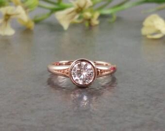 Rose Gold .75ct Forever One Moissanite Bezel Set Engagement Ring - 14K