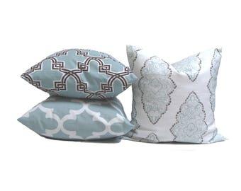 Pillow SET of THREE. Throw Pillow, Pillow Cover, Cushion, Decorative Pillow, Light Blue, Blue Pillow.Blue Toss, Cushion,cm.Pillow Cover Set