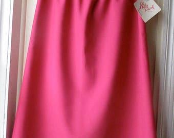 ON SALE Vintage fuchsia midi skirt with belt/New Old Stock  1970s polyester skirt /NanCore skirt / Secretary skirt / A-line skirt /  Women's