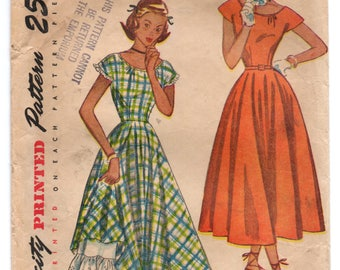 "1950's Simplicity One Piece Dress with Cap Sleeves and Full Skirt Pattern - Bust 30"" - No. 2405"