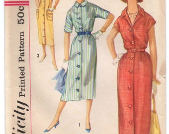 "1950's Simplicity One-Piece Sheath Day Dress Pattern - Bust 34"" - No. 2399"