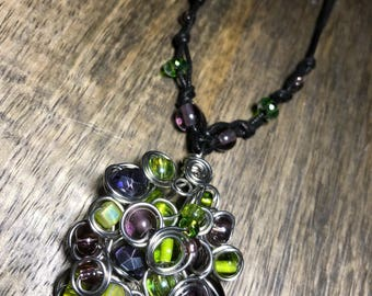 Lime green & purple cluster necklace