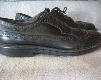 DEXTER Black All Leather Wing Tip Dress Oxford Brogues - Men's 8 1/2 D- American Made in USA