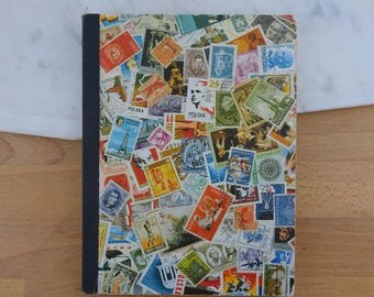 Vintage Stamp Album with Used Postage Stamps from Australia, England Etc, Postal Ephemera, Collection of Stamps