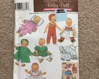 Baby Doll Clothes Sewing Pattern, Doll Dress, Coat, Silp, Panties, Overalls, Pajamas, Simplicity Archives 4707 - 12 - 22 Inch Doll
