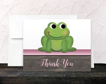 Frog Thank You Cards - Rustic Wood Cute Froggy Green Pink Brown - Blank Inside - Printed Cards