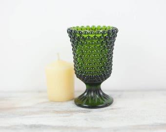 Vintage Jade Green Hobnail Pedestal Base Votive Tapered Glass Candle Holder