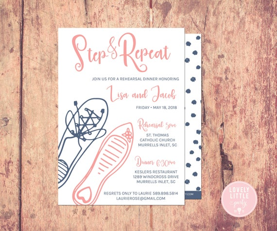 Step & Repeat Rehearsal Dinner Invitation, Fun Rehearsal, Step and Repeat Invitation, Wedding Rehearsal Dinner- Lovely Little Party