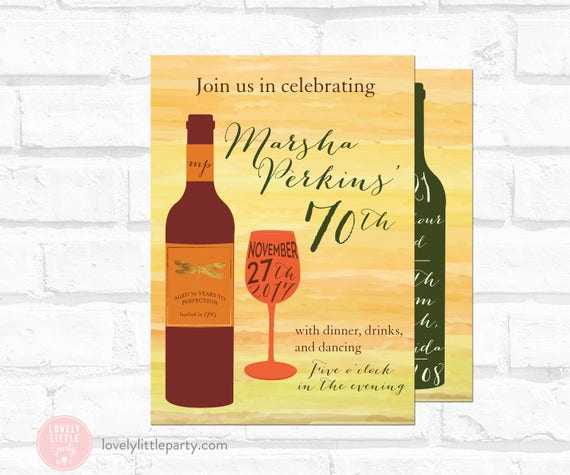 wine theme birthday invitation, Spanish theme wine Invitation, 40th/50th/60th/70th wine birthday- Lovely Little Party