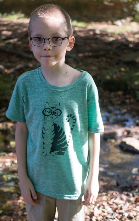 Organic Screen Printed Kids T Shirt / Cool Cats Wear Glasses Tee / Hand Drawn Cat Printed Shirt / Ready to Ship